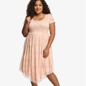 Torrid v hem lace dress blush pink